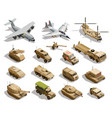 military transport isometric icons set vector image