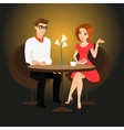 Young man and woman have a date in the restaurant vector image