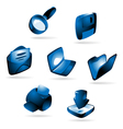Icons with blue glow vector image