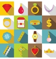 Jewelry items icons set flat style vector image