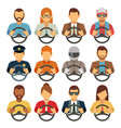 man and woman drivers flat icons vector image