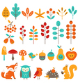 Cute autumn design elements vector image vector image