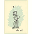 vintage postcard with a sketch of the statue of vector image