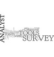 java survey analyst tools text background word vector image