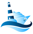 Ship and lighthouse vector image