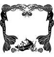 Frame mermaids weep shipwreck stencil for sticker vector image vector image