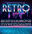 Shiny Chrome Alphabet in 80s Retro Futurism style vector image