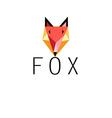 Graphic portrait of fox icon on a white backgroun vector image