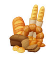bakery bread buns croissant loaf vector image