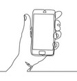 continuous line drawing of hand holding smartphone vector image