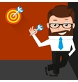 Lucky businessman is presenting a target vector image