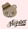 typography hipster and bear cartoon vector image