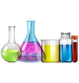 Glass beakers with colorful liquid vector image