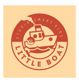 kids club logo with little boat cute kindergarten vector image vector image