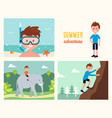 boy snorkeling  climbing rock and riding elephant vector image