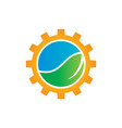 green leaf with gears logo image vector image vector image