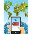 Global translation smart phone world map vector image