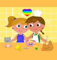 lesbian couple cooking happily vector image