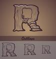 Halloween decorative alphabet - R letter vector image