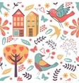 Colorful pattern with birds flowers and houses vector image vector image
