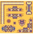 yellow set of paisley floral design elements for vector image vector image