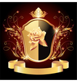 Medieval heraldic shield ornate golden ornament vector image