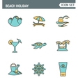 Icons line set premium quality of beach holiday vector image