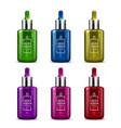 a set of beauty serum dropper bottles of differen vector image