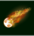 burning sport football icon with sparcles vector image