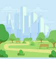 cartoon public city park with skyscrapers vector image