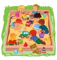 Little boys and girls sitting in the sandbox play vector image