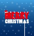 Merry Christmas text wear Santa hat vector image