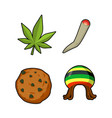 rasta icons set green leaf of marijuana and vector image
