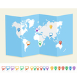 World map GPS location pins travel concept EPS10 vector image