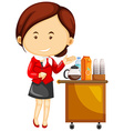 Flight attendant serving drinks on airplane vector image vector image
