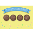 Happy New Year 2017 Chocolate cookies vector image