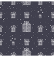 Gift and snowflake christmas seamless pattern dark vector image