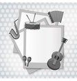 Notecard with music instrument in black and white vector image