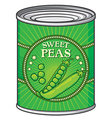 Sweat peas can vector image