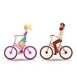 Cartoon couple riding bikes vector image