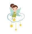 cartoon fairy sitting on the cloud cartoon fairy vector image