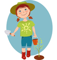 Little girl gardener vector image
