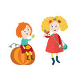 children doing autumn activity set vector image