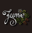 June Inscription with Decorative Strawberries vector image