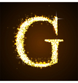 Alphabets G of gold glittering stars vector image