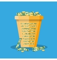 office trash bin full of cash vector image
