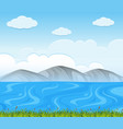 background scene with blue lake vector image