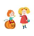 children doing autumn activity set vector image