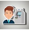 man atm money credit vector image
