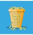 office trash bin full of cash vector image